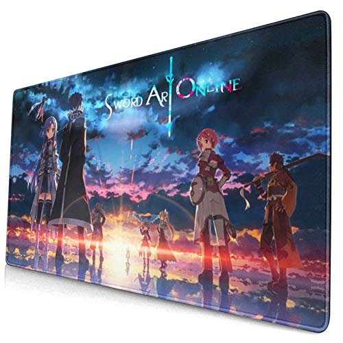 Sword Art Online Custom Made Anime Mouse Pad 15.8x29.5 Inch (40cmx75cm) Large Non-Slip Gaming Mouse Pad Rubber Stitched Edges Desk Mat for Office Home & Gamer