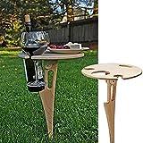 Krrinnhy Mesa de Vino al Aire Libre con Soporte para Botellas, Mesa Plegable para Exteriores, Mesa de Playa, Mesa de Vino al Aire Libre, Mesa Plegable de Picnic para el jardín, Viajes