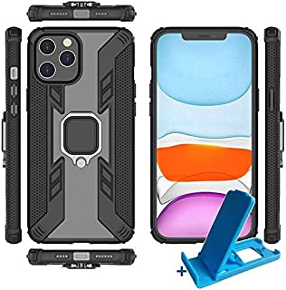 """iphone 12 mini cover case with finger Ring clear and black + Small iPhone stand (iPhon 12 mini 5.4"""")"""