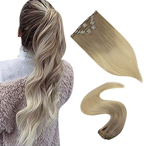 Clip in Extensions Kunsthaar Farbe 18 Fading to Farbe 60 Platinum Blonde Haarclips Verlängerung Echthaar 18 Zoll 7Pcs 100g/Set