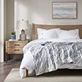 Beautyrest Zuri Electric Blanket Throw Ultra Soft Faux Fur Reverse to Mink Auto Shut Off Oversize with 3 Heat Level Setting Controller, 50x70, Grey/Blue