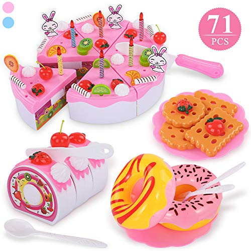 TEMI 71pcs Pretend Play Food for Kids, Cutting and Decorating Birthday Party Cake Toys Set with Candles Fruit Dessert Creams, Kitchen Chopping Playset for Children Aged 3 4 5 Years Old, Pink