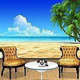 Fondo de pantalla en 3D Playa simple, azul, azul, palma de coco, foto de la pared, comedor del hotel, sala de estar, TV, fondo, decoración, frescos, 350 × 245 cm