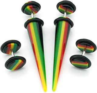 2 Pairs - Rasta Design - Acrylic Fake Plugs and Tapers - Cheaters - 2G Gauge - 6mm