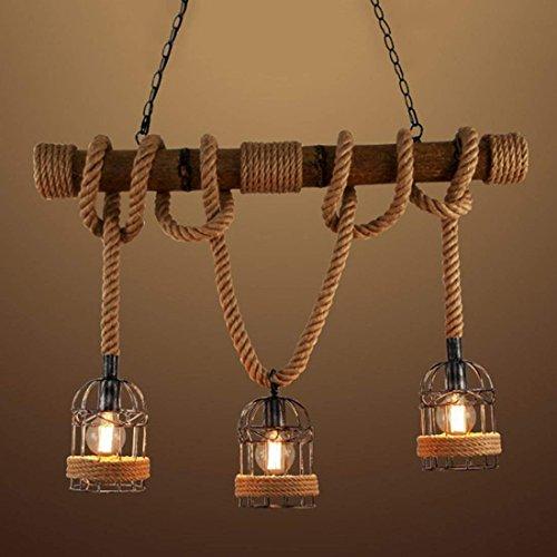 *Ruanpu Industrielle Vintage Hängelampe Pendelleuchte Seil Anhänger Lampe E27 Sockel mit Korb Holz für Wohnzimmer Esszimmer Restaurant Café Hotel Diele Dekoration (Keine Leuchtmittel)*