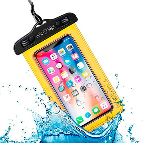 Funda Impermeable Móvil Universal IPX8 con Bolsa Sumergible Agua Estanca Acuática Playa   iPhone XR XS X SE 11 9 8 7 6s Plus Samsung S20 plus A71 Xiaomi Mi 10 Huawei P30 BQ Aquaris (Amarillo)