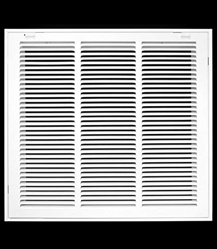 18' X 22' Steel Return Air Filter Grille for 1' Filter - Easy Plastic Tabs for Removable Face/Door - HVAC Duct Cover - Flat Stamped Face -White [Outer Dimensions: 19.75w X 23.75h]