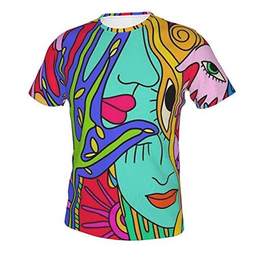 MayBlosom Novelty Short Sleeve Shirt Tops for Mens Boys Youth, Extended Sizes Abstract Graffiti Paint (10) XL
