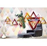 Weaeo Modernos Y Minimalistas Fondos De Pantalla 3D Para Sala De Estar Figuras Geométricas Abstractas Ricos Pavo Real Fondos De Pantalla 3D Murales-350X250Cm