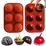Hot Chocolate Bomb - Moldes de silicona semiesféricos de 6 agujeros, para chocolate, tartas, mousse, gelatina, cúpula o pudding jabón hecho a mano, 2 unidades, sin BPA (rojo ladrillo)