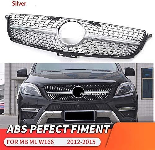HYNB ABS voorbumper Diamond Grill grille voor Mercedes ML Klasse W166 ML250 ML300 2012-2015, Zwart, Zilver