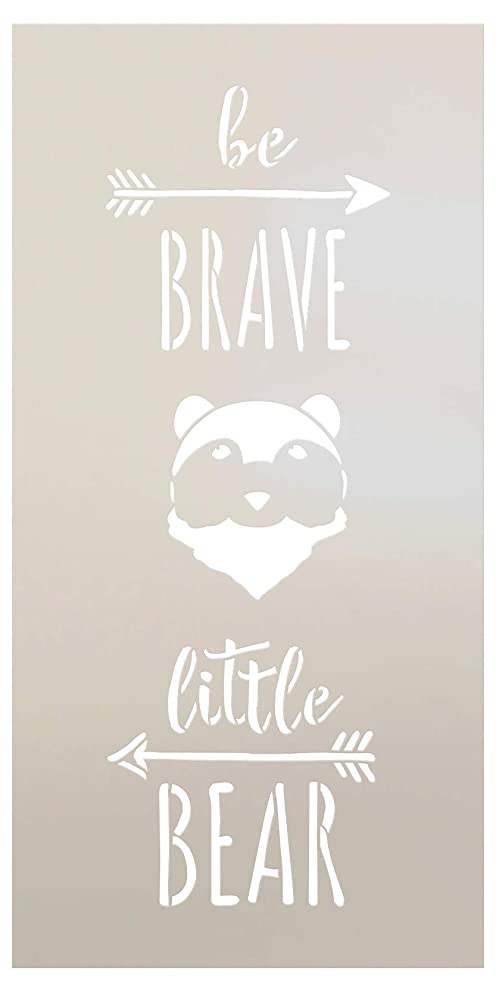 Be Brave Little Bear - Tall Woodland - Word Art Stencil - STCL1760 - by StudioR12 (5