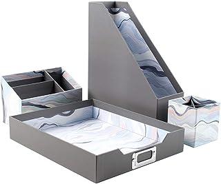 Erin Condren Designer Desk Accessories - Designer Desk Organizer Set (4 Pieces) - Layers Neutral. Stylish Storage for Papers, Magazines, Pens & Pencils, Paper Clips & More