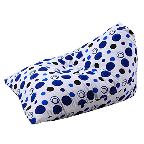 Knuffel Zitzak Opslag Grote Kinderspeelgoed Organizer & Comfortabele Zitzak Stoel Lounger Sofa/Bed Multifunctionele Opbergtas 100% Katoen Premium Canvas,White blue spots
