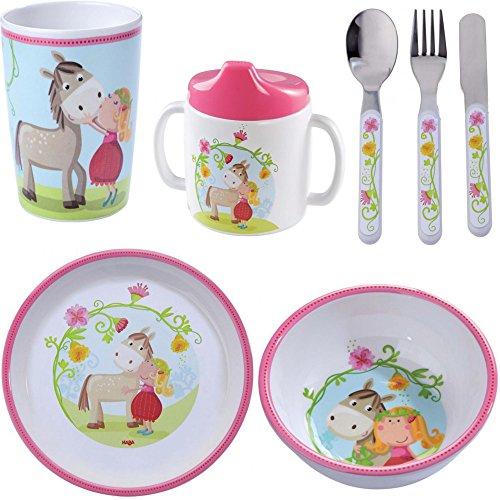 HABA - Juego de regalo de melamina Vicky Pirli, 5 piezas, para niña, regalo para bautizo, taza, taza, plato, cubiertos para niños, caballos