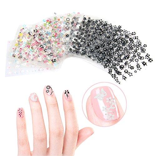 Tinksky 50 feuilles de couleurs mélangées 3D Nail Art Stickers Autocollants à ongles conseils décorations (couleur aléatoire)