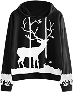 VEKDONE Women's Xmas Hoodie Casual Long Sleeve Christmas Reindeer Printed Hooded Sweatshirt Loose Tops