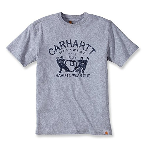 Carhartt .102097.034.S008 T-shirt Maddock met grafische print Hard To Wear Out, maat XXL, Heather Grey (grijs gemêleerd)