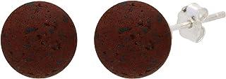 Pendientes de bola de 8 mm, lava marrón sobre plata 925