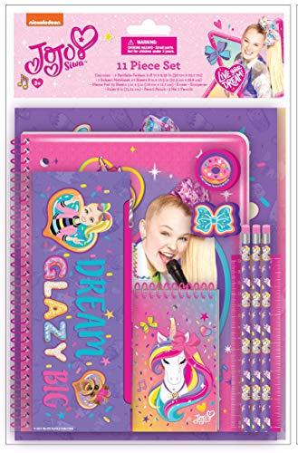JoJo Siwa Kids School Supplies Set with Pencil Case, Notebook, Pencils, Folders - 11 Pc. Set