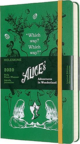 Moleskine Alice im Wunderland Taschenkalender 2020 (mit Tagesansicht, 12 Monate, mit Hardcover und elastischem Verschluss, Großformat 13 x 21 cm, 400 Seiten) grün (AGENDA 12 MOIS EDT LIMITEE)