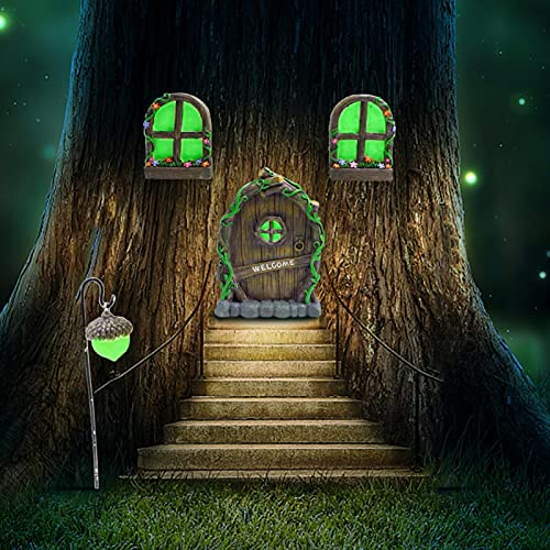 POHOVE Gnomo de hadas en miniatura para ventana y puerta, brilla en la oscuridad, hadas para dormir puerta y ventanas, estatuas de árbol, jardín de hadas, puerta mística, gnomo, yarda