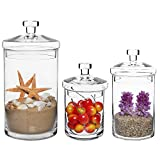 MyGift Set of 3 Clear Glass Kitchen & Bath Storage Canisters/Decorative Centerpiece Apothecary Jars with Lids