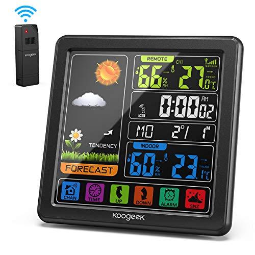 Koogeek Estación Meteorológica,Pantalla LCD en Color,Sensor Exterior,Estacion Meteorologica Interior Exterior,Barómetro de Humedad,Reloj Despertador
