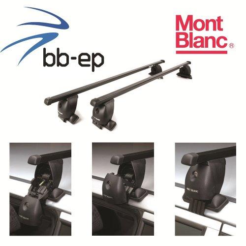 Mont Blanc Premium Acero Baca/Last portaequipajes para Seat Cordoba 4puertas Sedan con normalem techo a partir de año 2003hasta 2006–Sistema de baca Completo montado en cartón (Incluye Protec tono cristal Toallitas antivaho y