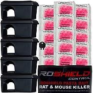 Roshield Mouse Control Black Bait Box Kit Includes Pasta Poison Sachets - Safe Around Children & Pets
