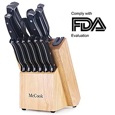 McCook MC26 14 Pieces FDA Certified High Carbon Stainless Steel Kitchen Knife Set with Wooden Block, All-purpose Kitchen Scissors and Built-in Sharpener(Black)