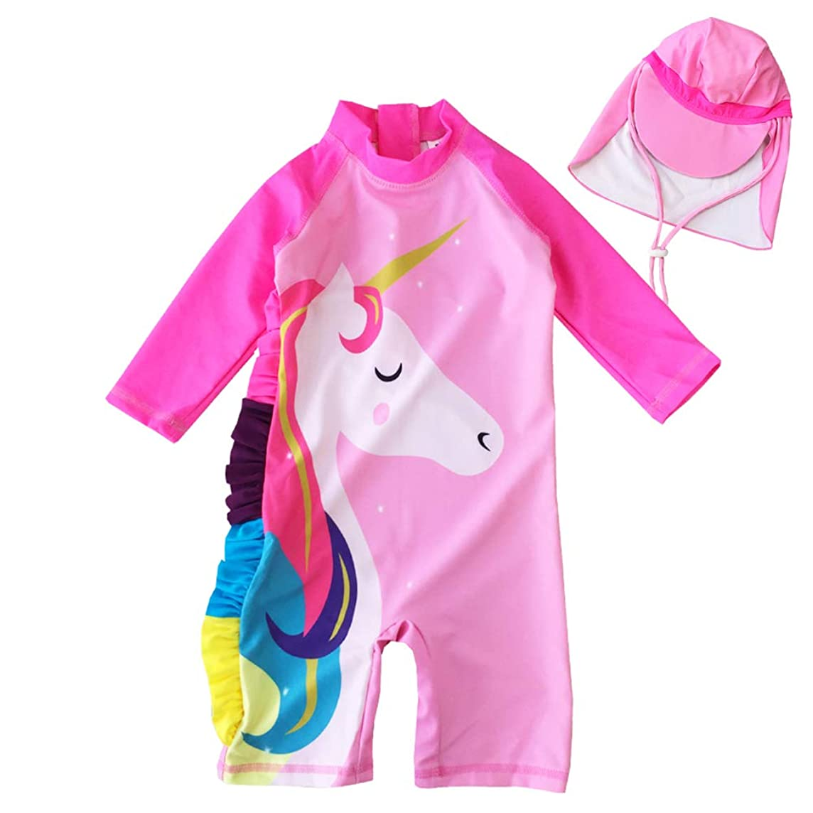 Baby Toddler Girl Unicorn Swimsuit Short Sleeve Bathing Suit-One Piece Swimwear Infant Toddler Sunsuits for Baby Girls