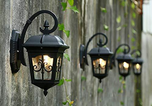 Lámpara de Pared para Exteriores Lámpara de Pared Impermeable Retro Lámpara de Pared de Aluminio de Vidrio Linterna LED Lámparas de Pared para Exteriores Ip65 AC E27 Lámpara Jardín Terraza Corredor P