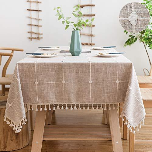 Sunbeauty Mantel Mesa Cuadrada Antimanchas Algodon Lino con Borlas Mantel a Cuadros Beige 140x140 cm Table Cloth Square Tablecloth para Mesa de Comedor