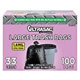 Ultrasac - 792763 UltraSac 33 Gallon Trash Bags - (Huge 100 Pack/w Ties) - 39' x 33' Heavy Duty Large Professional Quality Black Garbage Bags - Extra Strong Plastic Trashbags for Home, Kitchen, Lawn, and Other