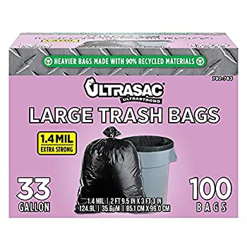 Ultrasac - 792763 UltraSac 33 Gallon Trash Bags -  Huge 100 Pack/w Ties  - 39  x 33  Heavy Duty Large Professional Quality Black Garbage Bags - Extra Strong Plastic Trashbags for Home Kitchen Lawn and Other