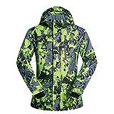 Chaqueta de esquí cálida a prueba de viento para h Chaqueta de montaña Costuras selladas Prendas de abrigo con bucles for el pulgar - Chaqueta de snowboard for hombres ( Color : Verde , tamaño : XXL )