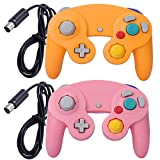 ONE250 2 Pack Classic Shock Joypad Wired Controller, Compatible with Wii NGC Gamecube Game Cube (Pink & Yellow)