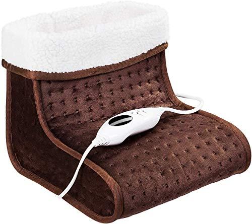 DREAMADE Scalda piedi Elettrico Traspirante e Morbido Scaldapiedi Termico 6 Livelli di Temperatura 100 W (marrone)