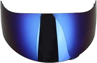 ヘルメットレンズ ヘルメットレンズ ミラーシールド ブルーミラー イエロー 日よけミラー 防風 雨よけ 交換ミラー 取り換えレンズ 軽量 (ブルー)