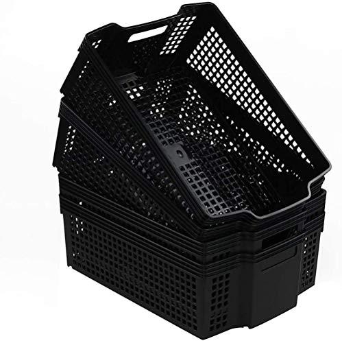 LHYLHY Cesta de lavandería de plástico de 14 litros, ColorNegro,4 Paquetes