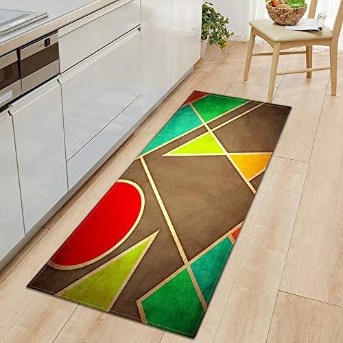 OPLJ 3D Kopfsteinpflaster Holzmaserung Küche Teppich Eingang Fußmatte Schlafzimmer Flur Bodenmatte Badezimmer Wasser Anti-Rutsch-Teppich A8 50x80cm