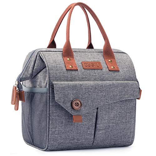 Lunch Bag with Leak Proof Material, Insulated Lunch Box for women/man, Lunch Tote Bag for Work/Picnic/Hiking/Beach/Fishing (grey-no shoulder starps)