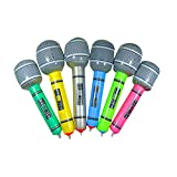 lzndeal - Set de 6 micrófonos hinchables de juguete para niños - PVC - Color aleatorio