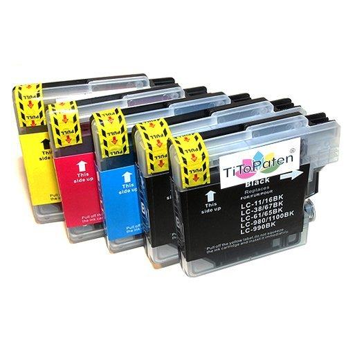 5X Kompatible Druckerpatronen - Ersatz für LC980 - Cyan/Magenta/Gelb/Schwarz - Brother DCP 145C 163C 165C 167C 193C 195C 197C 365CN 373CW 375CW 377CW MFC 250C 255CW 257CW 290C 295CN 297C