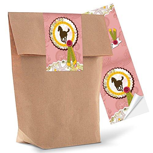 10 kleine braune Geschenktüten Papier-Tüten + 10 Aufkleber Sticker PFERD 14 x 22 x 5,6 cm rosa pink Mädchen Mitgebsel give-away Pferdefan Kinder-Geburtstag Geschenk-Verpackung Kindertüte