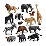 TOYMANY 14PCS 1-2' Tiny Safari Animal Figures Toy, Realistic Mini Jungle Zoo Animal Figurines Cake Topper Toy Set, Easter Egg Christmas Birthday Gift Party Favor School Project for Kids Toddlers