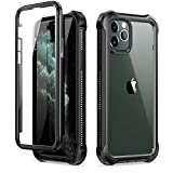 Dexnor Funda para iPhone 11 Pro (5.8''), Carcasa con Parachoques de Silicona de 360 Grados, [A Prueba de Golpes] [Ligero] Panel Posterior Transparente, Protector de Pantalla Incorporado - Negro
