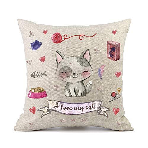 Moyun Mignon Pet Chat Coussins Couvre Coton Lin Décoratif Throw Taie d'oreiller pour Enfants...