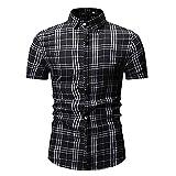 Camisa Hombre Moderna Tendencia Moda Rayas Slim Fit Hombre Shirt Verano Básico Elástico Cardigan Hombre Manga Corta Negocios Casual All-Match Casuales Camisa C-Black M